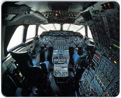 Concorde Cockpit. A crew of three. The nose had to be lowered on landing to…
