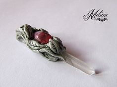 Strawberry quartz pendant elvish pendant tree pendant от MelianArt