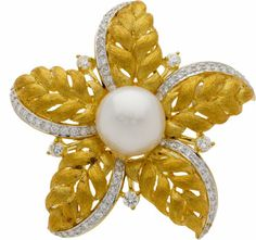 Estate Jewelry:Brooches - Pins, Cultured Pearl, Diamond, Gold Pendant-Brooch T... Image #1