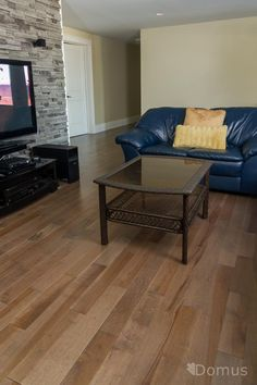 Medium brown hardwood in basement rec room Hardwood Floors, Flooring, Medium Brown, Habitats, Basement, Couch, Room, Furniture, Home Decor