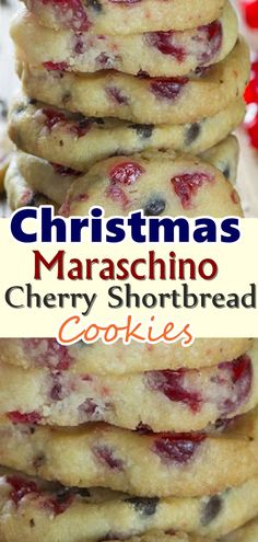 Delightful shortbread cookies with maraschino cherries and chocolate chips will become one of your favorite holiday cookies with the red and green cherries! Dont forget to Pin this so it will be SAVED to your timeline! Cookie Desserts, Just Desserts, Delicious Desserts, Dessert Recipes, Delicious Chocolate, Dinner Recipes, Cocktail Recipes, Cherry Desserts, Snacks Recipes