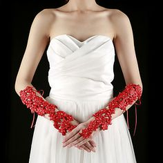 Lace Fingerless Elbow Length With Appliques / Rhinestone Bridal Gloves (More Colors) – USD $ 19.99 Interesting!!!?