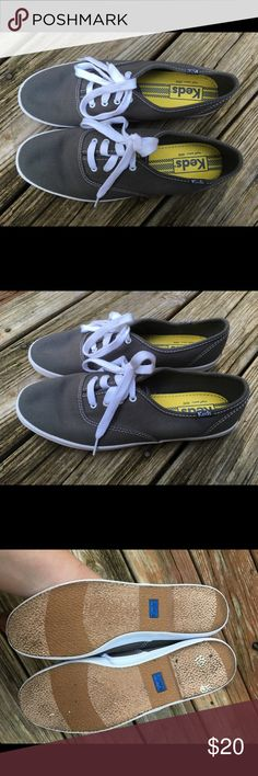 KEDS Champion Classic Gray Size 8 - worn once! These Keds Champion Classic in Gray are a size 8. They are originally $40, and I only wore them for 3 hours so only the bottom shows wear. The uppers look like new. Keds Shoes Sneakers