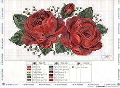 Rosas Vermelhas grafico de ponto cruz