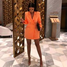 Cryptographic Deep V-neck Female Long Blazers Double Breasted Long Sleeve Orange Blazer Fashion Autumn 2019 Fitted Long Jackets 4000224303320 3531 Mode Outfits, Dress Outfits, Fashion Dresses, Girl Outfits, Classy Outfits, Stylish Outfits, Elegantes Outfit Frau, Long Blazer, Blazer Dress