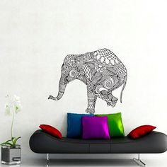 Wall Decals Elephant Indian Pattern Yoga Decal Vinyl Sticker Decor Home Interior Design Bohemian Murals Bedroom Black Friday Sale MN413