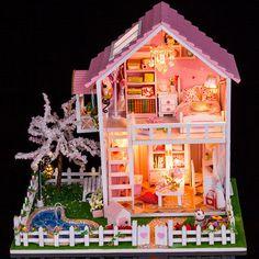 DIY Dollhouse Miniature sakura pink Dollhouse Kit by UniTime