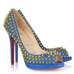 Christian Louboutin Yolanda Spikes 120mm Peep Toe Pumps Blu Prezzo
