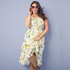 8cb0154fc2d19 Lemon Print High Neck Smock Midi Dress