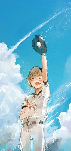 Tags: Anime, Ookiku Furikabutte, Baseball Uniform, Ren Mihashi, Blue Sky, Baseball Ball, Flyco_