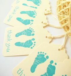 10 Baby Footprints Gift Tags -Baby Shower Favors- Vintage- Boy, Blue on Etsy, $6.25