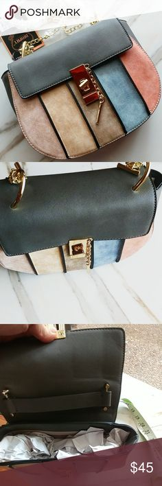 Blush crossbody sadle bag Vegan  22 inches long chain shoulder down  9 inches wide, 8 hight  Back zipper pocket  Absolutely beautiful Bags Crossbody Bags