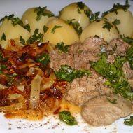 Kuřecí játra na víně se zkaramelizovanou cibulí recept - Vareni.cz Pork, Beef, Chicken, Pork Roulade, Meat, Pigs, Ox, Pork Chops, Ground Beef