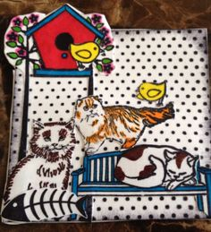 handmade kitty cat embellishment for card making, scrapbooking and crafting.