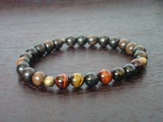 Men's Mixed Tiger's Eye Chakra Mala Bracelet by 5thElementYoga - $24.00 #mens #tigerseye #chakra #meditation #bracelet #5thelementyoga