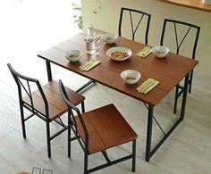 jogo de mesa c/ 4 cadeiras madeira e ferro
