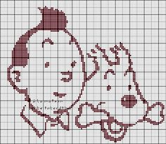 héros-cartoon-bd - tintin et milou - point de croix - cross stitch - Blog : http://broderiemimie44.canalblog.com/