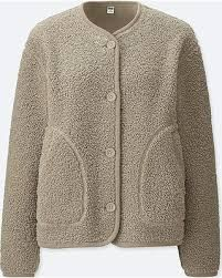 Boucle Sweater Jacket - Casual Women's Clothing and Fashion Accessories Collarless Jacket, New Shop, Outerwear Women, Sweater Jacket, Uniqlo, Clothes For Women, Lady, Casual, Sweaters