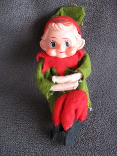 vintage Christmas young elf who is almost a knee hugger by mudintheUSA on Etsy #epsteam