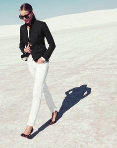A Black Blazer, White Jeans, and Leopard Heels.