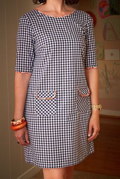 Gingham Laurel - Lilly is Love Stylish Dress Designs, Stylish Dresses, Simple Dresses, Cute Dresses, Casual Dresses, African Print Fashion, African Fashion Dresses, African Dress, Clothing Patterns