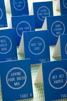 personalized escort cards (works well with smaller guest count) -- so cool!