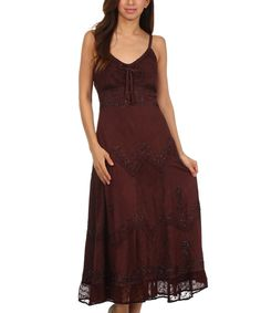Another great find on #zulily! S Apparel Chocolate Embroidered Empire-Waist Maxi Dress - Women & Plus by S Apparel #zulilyfinds