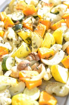 Herb-Marinated Roasted Vegetables  Beautiful, healthy dish (toss in some toasted pine nuts and brown rice and you have a wonderful, vegan dinner) (Roasted Mix Vegetables)