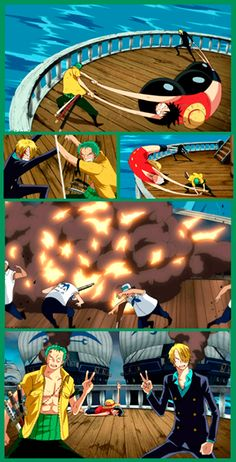 Anime/manga: One Piece Characters: Zoro, Luffy, and Sanji, this is how team work is in the Straw Hat Crew.