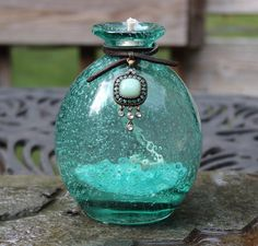 Hey, I found this really awesome Etsy listing at https://www.etsy.com/listing/454580416/aqua-art-glass-tiki-torch-oil-lamp