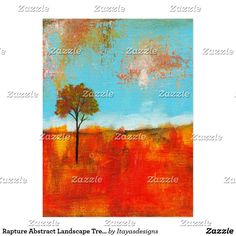 SOLD!!  Rapture Abstract Landscape Tree Art Painting Postcard