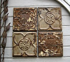 Tin Ceiling Tiles Set Of 4 Vintage Circa 1900 By Driveinservice On