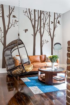 Long living room wall decal tree / Best wall art for your room / Easy to stick it!   #long tree #brown #DIY #decal #Amelia #Etsy