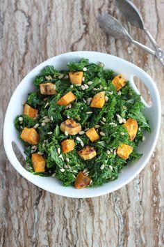 Massaged Kale Salad with Roasted Sweet Potatoes - FoodBabbles.com