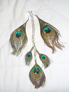 peacock feather and earring set! DIY!!