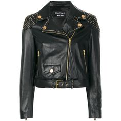 Boutique Moschino studded biker jacket (5.715 BRL) ❤ liked on Polyvore featuring outerwear, jackets, black, studded moto jacket, moto jackets, rider leather jacket, genuine leather biker jacket and studded leather jacket
