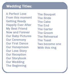 Wedding Titles                                                                                                                                                                                 More