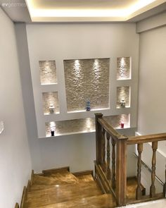House Ceiling Design, Home Stairs Design, Home Room Design, Small House Design, Modern House Design, Home Interior Design, Dream Home Design, Staircase Lighting Ideas, Staircase Wall Decor