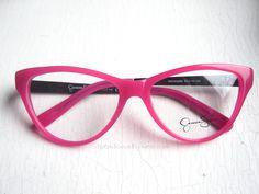 Jessica Simpson Pink Oversized Eyeglass Frames.  Gorgeous cat eye eyeglass frames with black/pink leopard temples.