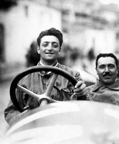 """The Legendary Enzo Ferrari in The Commendatore, born in the year outside of the city of Modena. Known for """"fast cars and slow food."""" Enzo Ferrari devoted his entire life in the pursuit of speed. Pictured here driving an Alfa Romeo horsepower racing type. Ferrari F1, Ferrari Daytona, Ferrari Racing, Ferrari Spider, Ferrari Scuderia, Ferrari Logo, Alfa Romeo, Jochen Rindt, Foto Poster"""