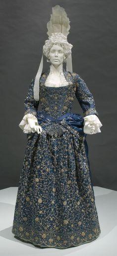 Woman's Mantua with Stomacher and Petticoat Italy, circa 1700 Costumes; principal attire (entire body) Silk satin with gold- and silver-metallic thread embroidery