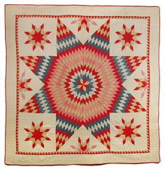 Bright and beautiful Lone Star quilt by Mary Mook Norris, Sandusky County, Ohio (c. 1895).