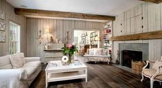Rustic farmhouse furniture ideas rustic farmhouse living room with wood panel walls reclaimed beams and hardwood Cozy Living Rooms, Living Room Chairs, New Home Source, Salons Cosy, Rustic Chic Decor, Rustic Wood, Farmhouse Living Room Furniture, Bedroom Furniture, Elegant Homes