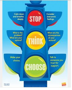 A stop, think, choose chart will be of great benefit, both at home and school. This will provide a visual to how  behavior is throughout the day. Will be able to monitor and regulate behavior in a fun and creative way.