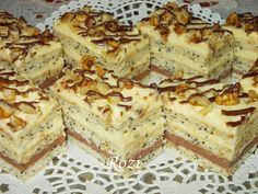 Rozi Erdélyi konyhája: Mákos krémes szelet Poppy Cake, Cake Bars, Hungarian Recipes, No Bake Treats, Baked Goods, Sweet Recipes, Cookie Recipes, Sweet Treats, Food And Drink