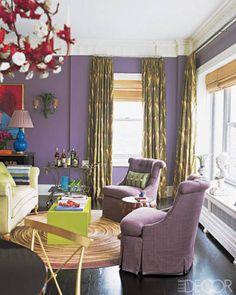 Mora Praise in Halls - Decoration 2019 Decor, Home, Elle Decor, Purple Decor, Stylish Living Room, Interior, Green Curtains, Eclectic Living Room, Room