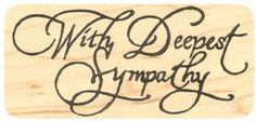 """{Single Count} Unique & Custom (4"""" by 2"""" Inches) """"With Deepest Sympathy Text"""" Rectangle Shaped Genuine Wood Mounted Rubber Inking Stamp"""