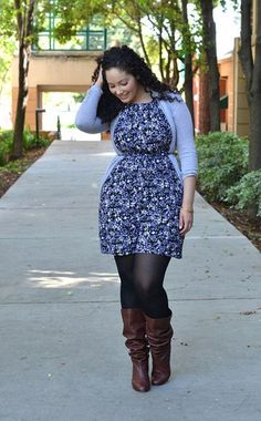 Curvy Girl Fashion: 40 Plus Size Outfits, love this look, would also try a lighter tights/ leggings just to make it pop.