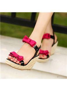 New Arrival Contrast Colour Double Bowtie Wedge Heel Sandals