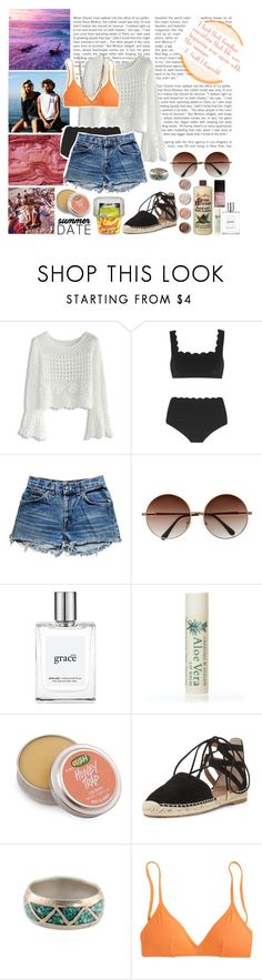 """Beach Love"" by makeawishforme ❤ liked on Polyvore featuring Chicwish, goodhYOUman, Marysia Swim, Levi's, philosophy, Garance Doré, Alöe, Terre Mère, BOBBY and Aquazzura"